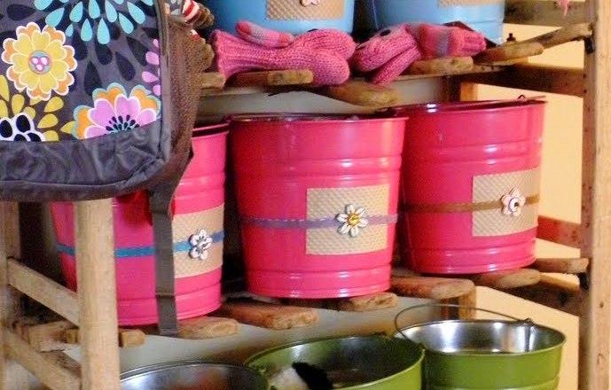 pink blue green bucket shelving