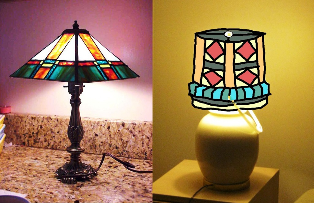 plastic stained glass bucket-lamp