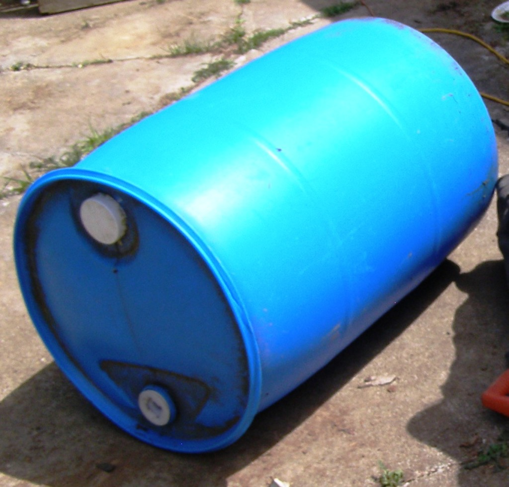 blue 55 gallon drum