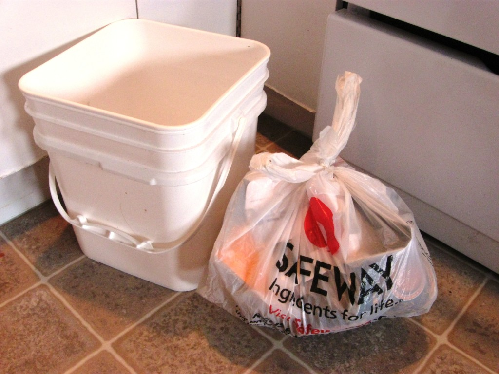 grocery bag trash can