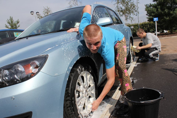 car washing with bucket and grit guard