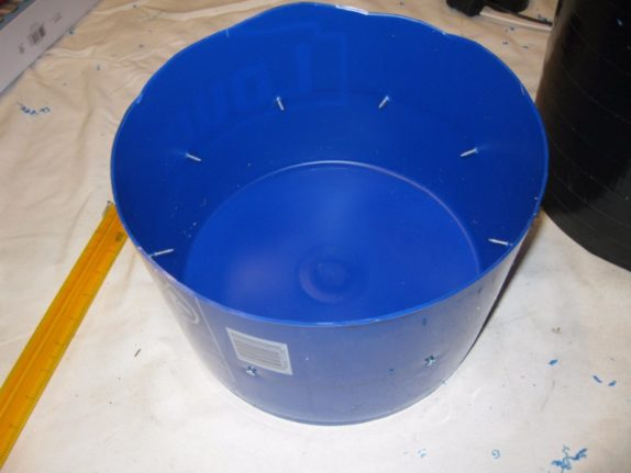 space bucket DIY top trimmed