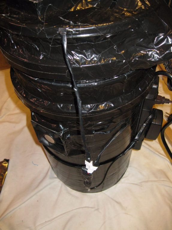 Space bucket wires tape covered