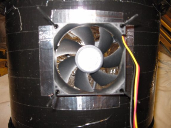 fan space bucket covered aluminum tape