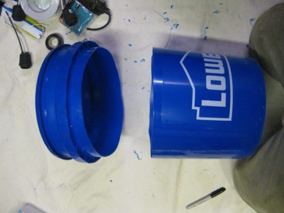 bucket neheaded space bucket cut in two pieces removed top