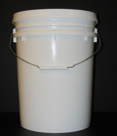 five gallon bucket plant protector black background