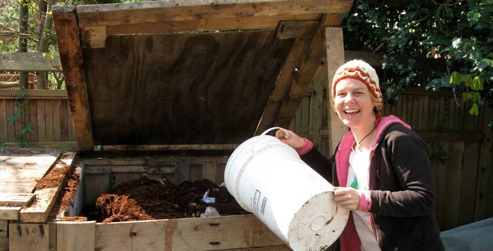 emptying a kitchen compost pail