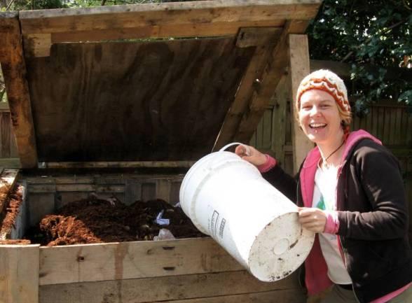 filling compost bin