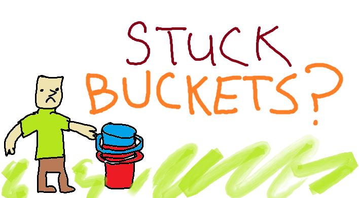stuck plastic 5 gallon buckets