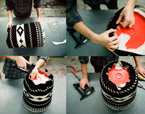 steps to make bucket ottoman