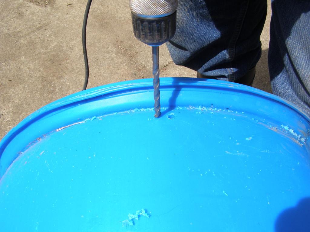 drilling 55 gallon drum