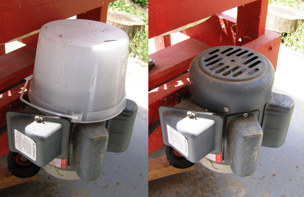 chicken plucker motor covered with a bucket