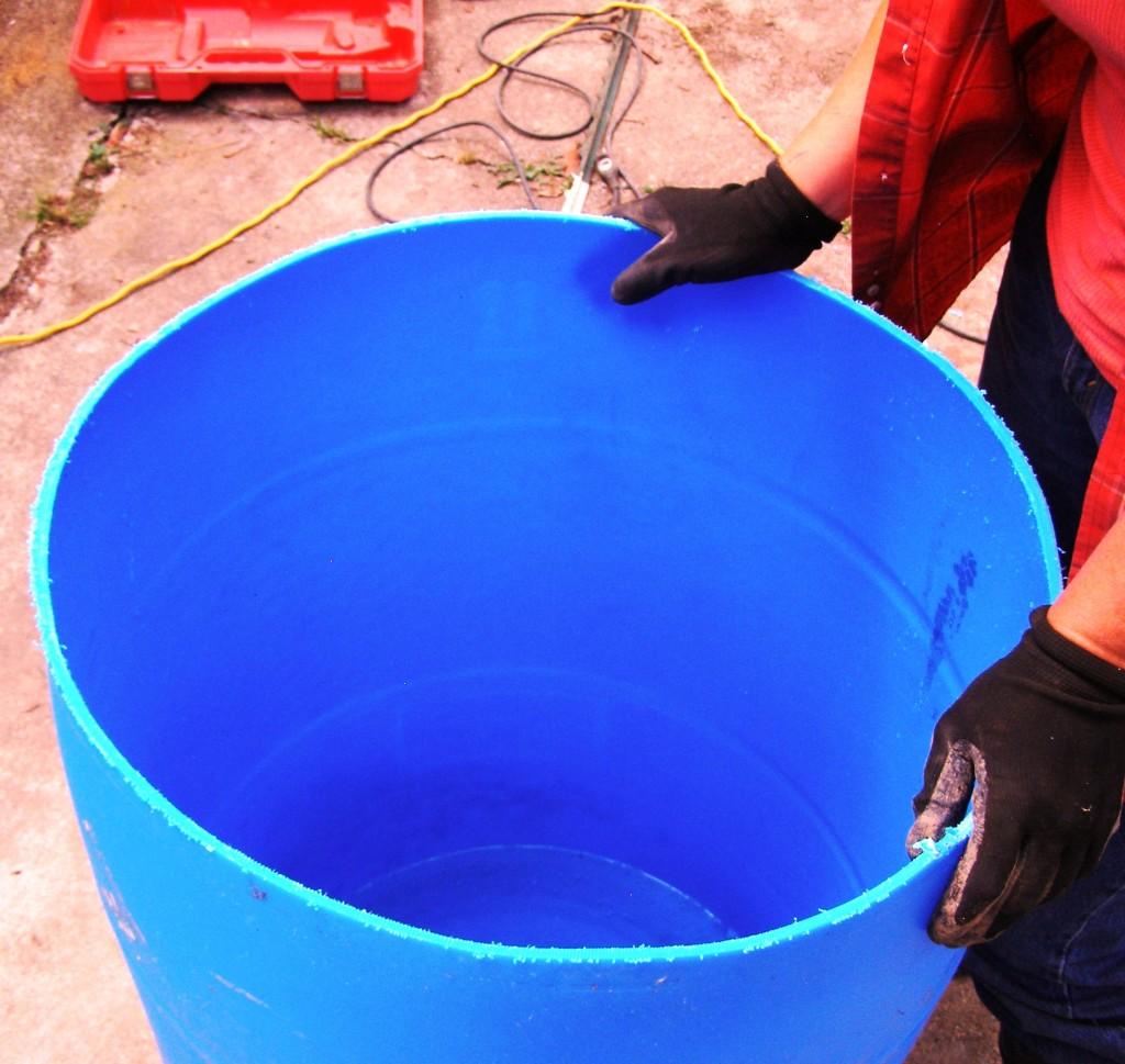 completely cut 55 gallon drum