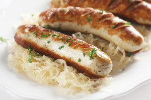 German Cuisine: Bratwurst on Sauerkraut