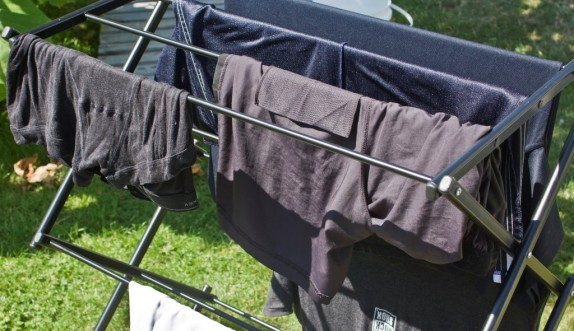 line or rack drying hand washed clothes