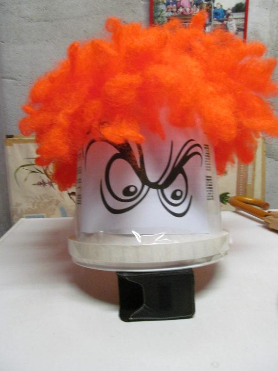 Scarecrow birds chase away head bucket orange wig