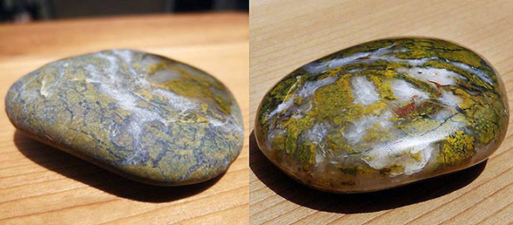 polished rocks before after