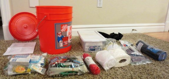 emergency kit in a bucket with contents